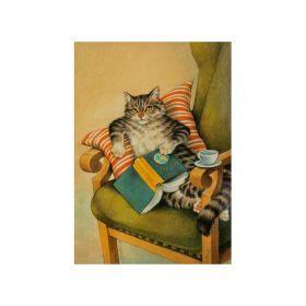 Открытка ленивый кот 15*10,5 см.