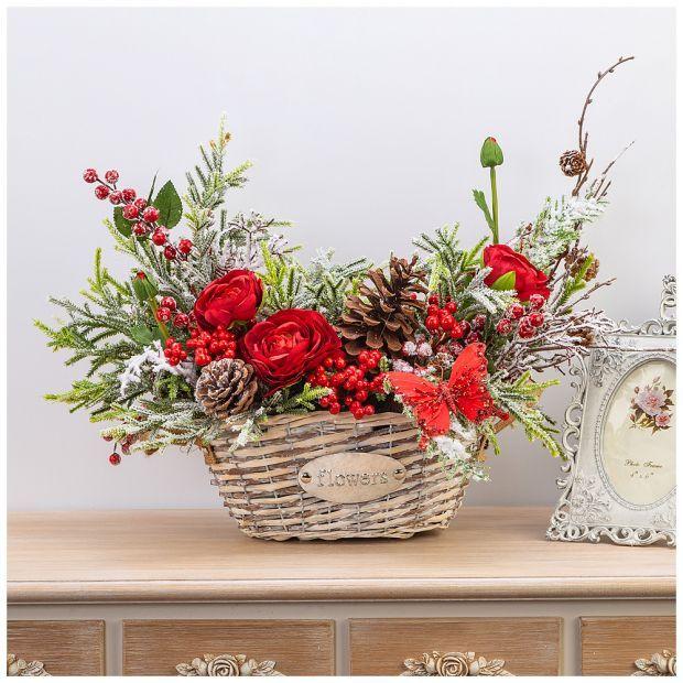 """Цветочная композиция """"рождественская корзинка"""" ширина 45см*высота 54 см- без упаковки-23-1397"""