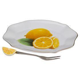 Блюдо для лимона с вилочкой длина=15 см ширина=10 см