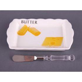 Маслёнка с ножом.18*11 см.-263-563