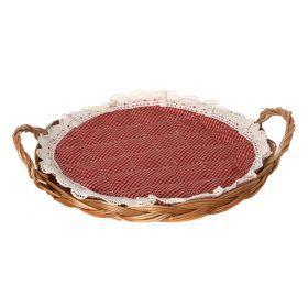 Поднос для хлеба в комплект входит салфетка) диаметр=25 см.-119-215