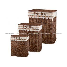 Набор корзин для белья с крышкой и чехлом из 3 шт.58*49*35/53*43*31/49*41*30 см.