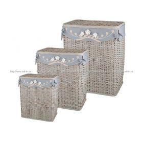 Набор корзин для белья с крышкой и чехлом из 3 шт.59*48*35/51*43*30/49*39*26 см.