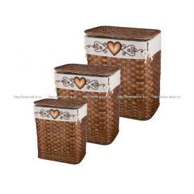 Набор корзин для белья с крышкой и чехлом из 3 шт.59*48*35/53*44*30/49*37*26 см.