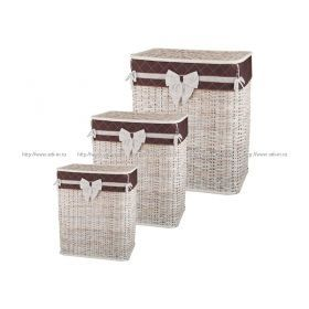 Набор корзин для белья с крышкой и чехлом из 3 шт.58*36*48/54*31*44/48*38*25 см.
