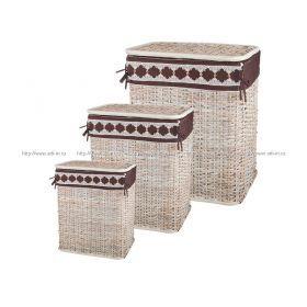 Набор корзин для белья с крышкой и чехлом из 3 шт.58*49*36/47*43*30/49*38*25 см.