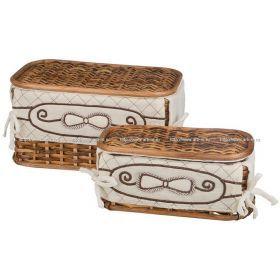 Набор корзин для белья с крышкой и чехлом из 2 шт.16**30*20/27*11*15 см.,