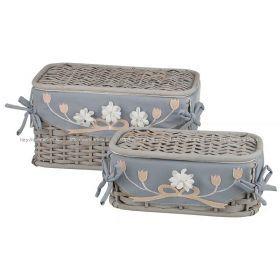 Набор корзин для белья с крышкой и чехлом из 2 шт.17*33*20/11*28*15 см.