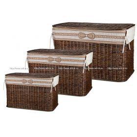 Набор корзин для белья с крышкой и чехлом из 3 шт.67*42*70/37*61*36/31*56*30 см.