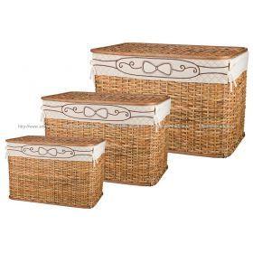 Набор корзин для белья с крышкой и чехлом из 3 шт.66*44*42/61*38*35/30*55*30 см.