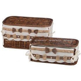 Набор корзин для белья с крышкой и чехлом из 2 шт.17*33*21/11*28*15 см.