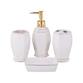 Набор для ванной комнаты 4 пр.:дозатор для мыла, мыльница, стакан для зубных щеток , стакан (кор=12к-755-209