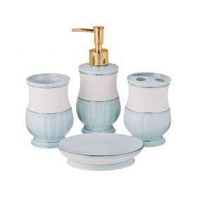 Набор для ванной комнаты 4 пр.:дозатор для мыла, мыльница, стакан для зубных щеток , стакан (кор=12к-755-208