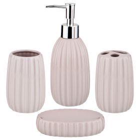 Набор для ванной комнаты 4 пр.:дозатор для мыла, мыльница, стакан для зубных щеток , стакан (кор=12к-755-211