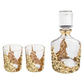 Набор для виски 3 пр.: штоф+2 стакана 1000/300 мл. высота=25/10 см.-103-568