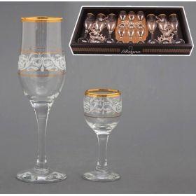 Набор на 6 персон 12 пр.:6 рюмок для водки 50 мл. + 6 бокалов для вина 200 мл.-381-134