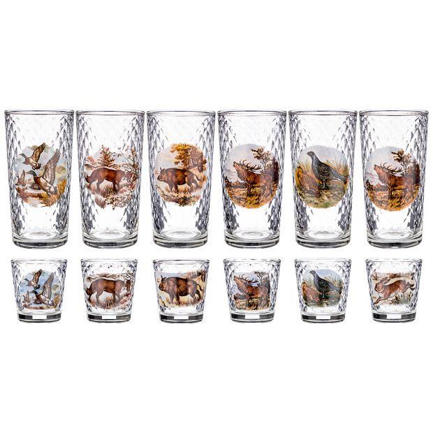 """Набор 12 предм. 6 стаканов 250 мл. + 6 стопок 70 мл. """"охота"""" (кор=4набор.)-381-1037"""