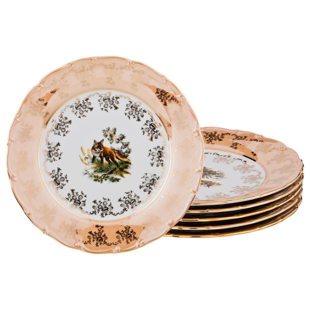 "Набор тарелок из 6 шт. диаметр=25 см. ""охота золотая"" без упаковки-655-733-8"