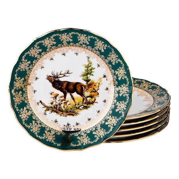 "Набор тарелок из 6 шт.""зеленая охота"" диаметр=21 см.-662-701"