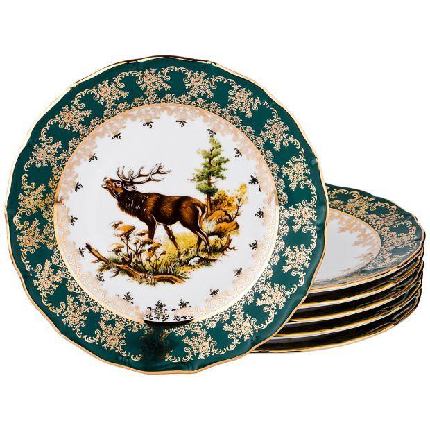 "Набор тарелок из 6 шт.""зеленая охота"" диаметр=26 см.-662-702"