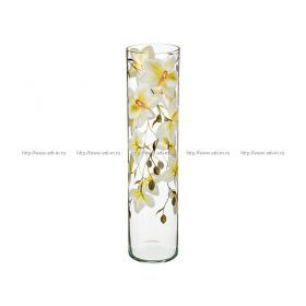 Ваза орхидея салатовая цилиндр диаметр=12 см. высота=50 см.