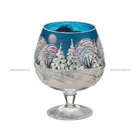 Ваза декоративная зима синяя 1000 мл. без упаковки