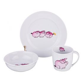 Набор посуды на 1 персону 3 пр.: кружка +блюдце+тарелка 300 мл. высота=8 см.-606-837