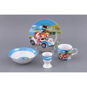 Наборы посуды на 1 персону 4пр.:миска,тарелка,кружка 200 мл.,подставка под яйцо (кор=12наб.)-87-049