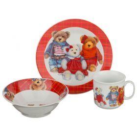 Обеденный набор на 1 персону 3 пр: тарелка 2шт+чашка 200 мл-356-097