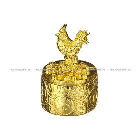 Шкатулка золотой петушок 5,5*5,5*8,3 см.