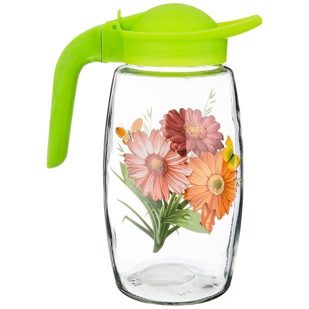 """Кувшин шар 1000 мл """"цветы"""" в ассортименте высота=23 см. без упаковки (кор=6шт.)-381-1022"""