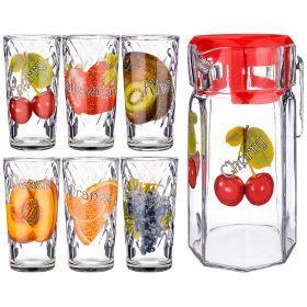 Набор: кувшин 1500 мл + 6 стаканов 250 мл. высота=23/13 см. (кор=3набор.)-381-1029