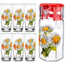 Набор: кувшин 1750 мл + 6 стаканов 250 мл. высота=23/13 см. (кор=4набор.)-381-1033
