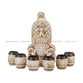Водочно-коньячный набор петух на троне штоф+6 рюмок 2000/150 мл. без упаковки