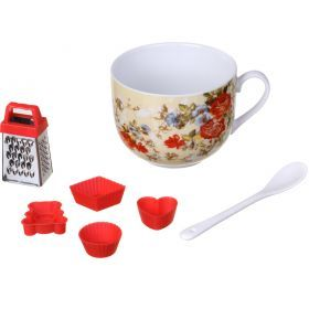 Набор: чашка с ложкой 450 мл.+минитерка+форма для шоколада (кор=36набор.)-270-182