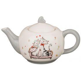 """Заварочный чайник серый  """"гламурные кошечки"""" 600 мл.21,5*13*11,5 см."""