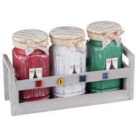 """Набор цветных банок для сыпучих продуктов из 3 шт.""""париж"""" на дерев.подставке 31*10,5*17 см. (кор=12н"""