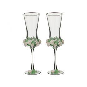 Набор свадебных бокалов из 2-х шт. 180 мл. высота=18 см. лепка