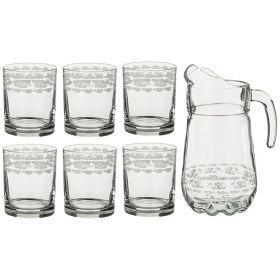 """Набор для сока 7 пр. """"букет белых роз"""": кувшин+6 стаканов 1450/210 мл."""