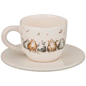"""Чайный набор на 1 персону 2 пр.""""кошачий квартет"""" мл 15,5*12,5*9 см."""