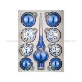 Набор романс в подарочной коробке шары:4-шт. диаметр=6 см шары 4- шт. диаметр=7,5 см и верхушка (к