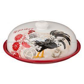 Блюдо для блинов с крышкой петух высота=10 см.диаметр=23 см.